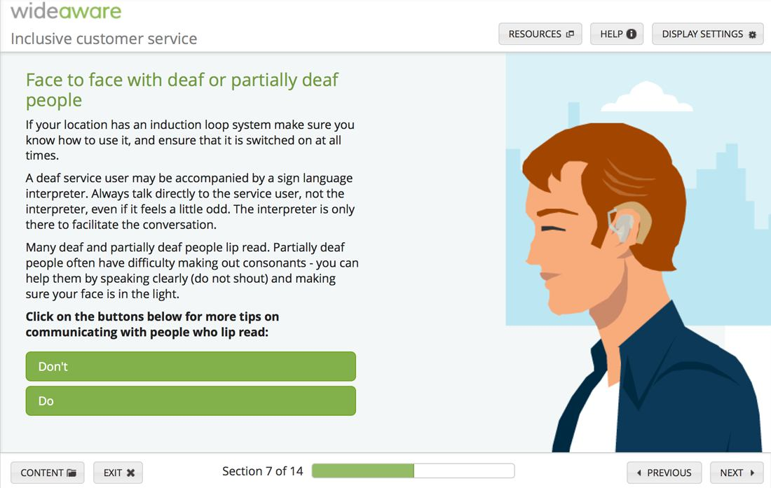 Screenshot from elearning content with tips for communicating effectively with people who have hearing impairment.