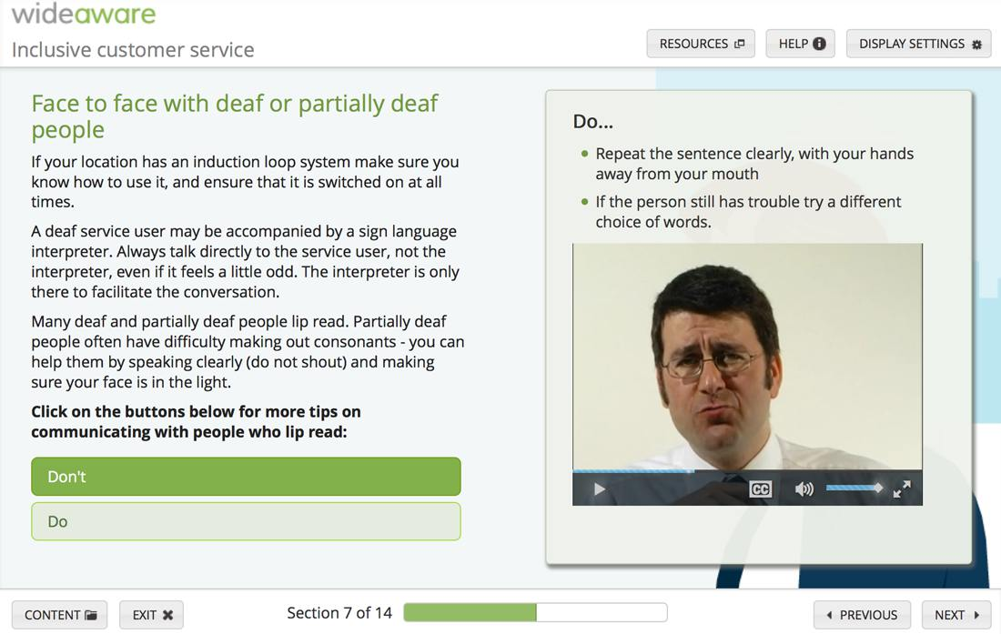 Screenshot of activity with video explaining ways of communicating well with people who have hearing impairment.