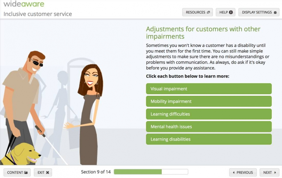Screenshot from elearning unit explaining basic adjustments that can be made for customers with different types of impairments.