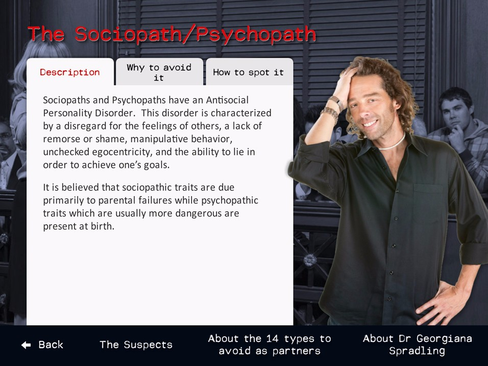 Screen content provides a guide to how to spot potential sociopaths or psychopaths.