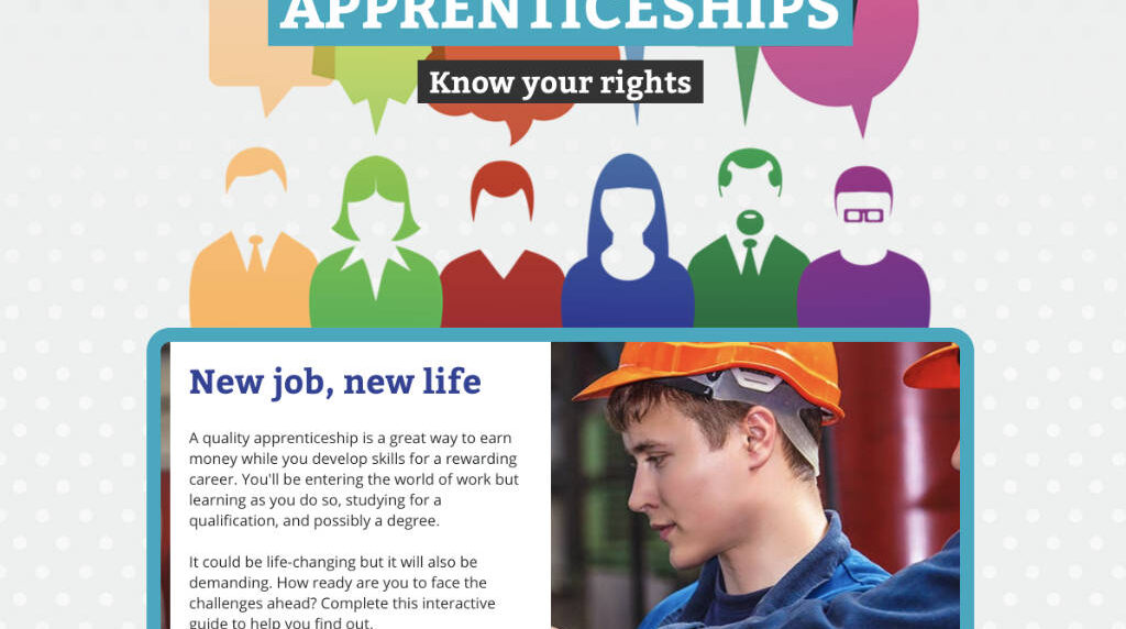 Screenshot from interactive guide to apprenticeships, developed using the Adapt framework.