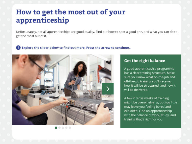 Guide showing criteria for spotting a good apprenticeship.