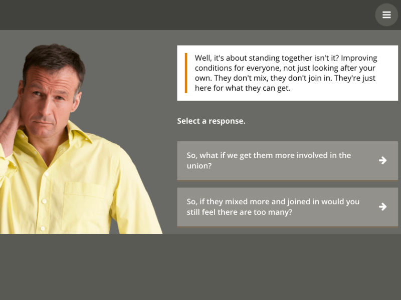 Another consequence from a branching scenario as the learner tries to understand Dave's concerns about immigration.