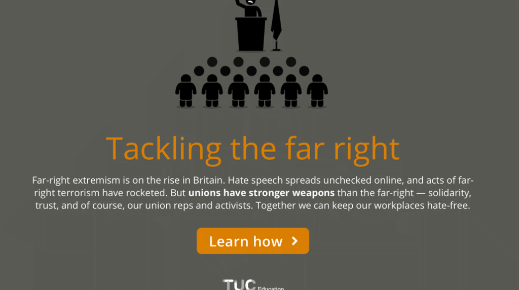 Launch screen to e-learning on tackling the far right.